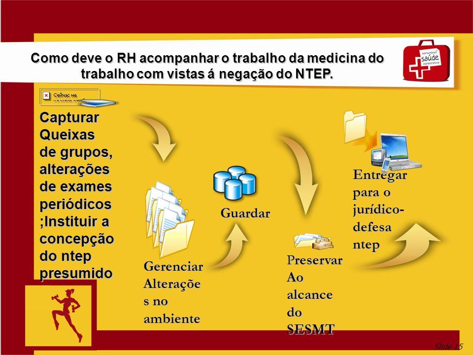 Slide 15 Como deve o RH acompanhar o trabalho da medicina do trabalho com vistas á negação do NTEP. Capturar Queixas de grupos, alterações de exames p