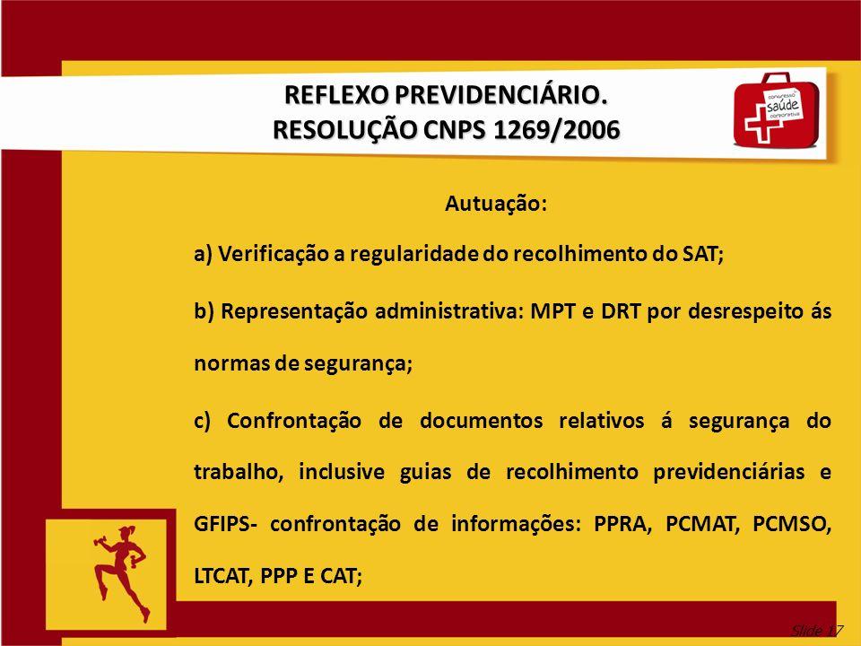 Slide 17 REFLEXO PREVIDENCIÁRIO. RESOLUÇÃO CNPS 1269/2006 Autuação: a) Verificação a regularidade do recolhimento do SAT; b) Representação administrat