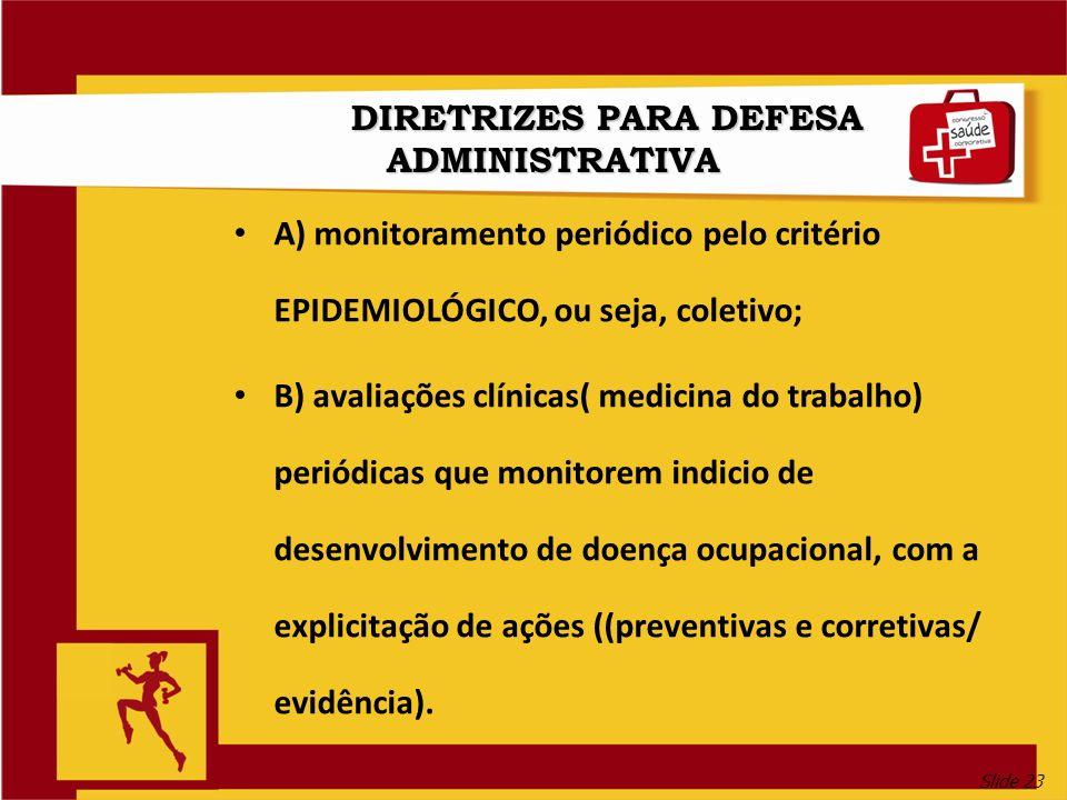 Slide 23 DIRETRIZES PARA DEFESA ADMINISTRATIVA A) monitoramento periódico pelo critério EPIDEMIOLÓGICO, ou seja, coletivo; B) avaliações clínicas( medicina do trabalho) periódicas que monitorem indicio de desenvolvimento de doença ocupacional, com a explicitação de ações ((preventivas e corretivas/ evidência).