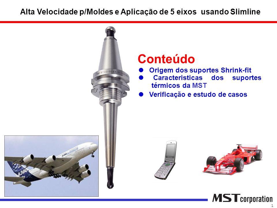 Conteúdo Origem dos suportes Shrink-fit Caracteristicas dos suportes térmicos da MST Verificação e estudo de casos Alta Velocidade p/Moldes e Aplicaçã