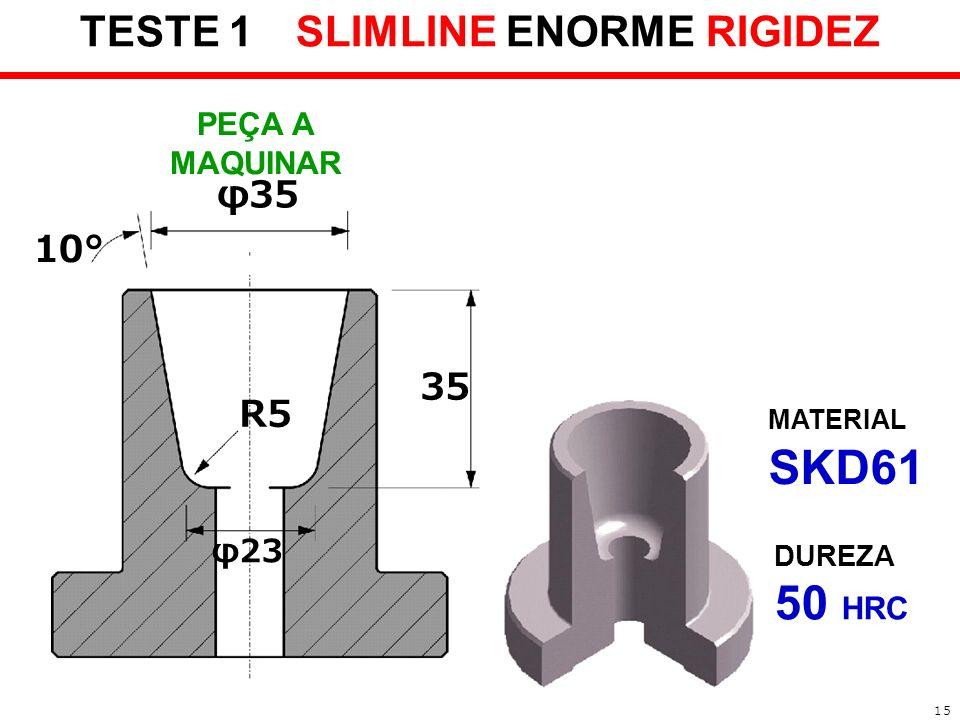 TESTE 1 SLIMLINE ENORME RIGIDEZ 35 R5 φ23 φ35 10° MATERIAL SKD61 DUREZA 50 HRC 1 PEÇA A MAQUINAR