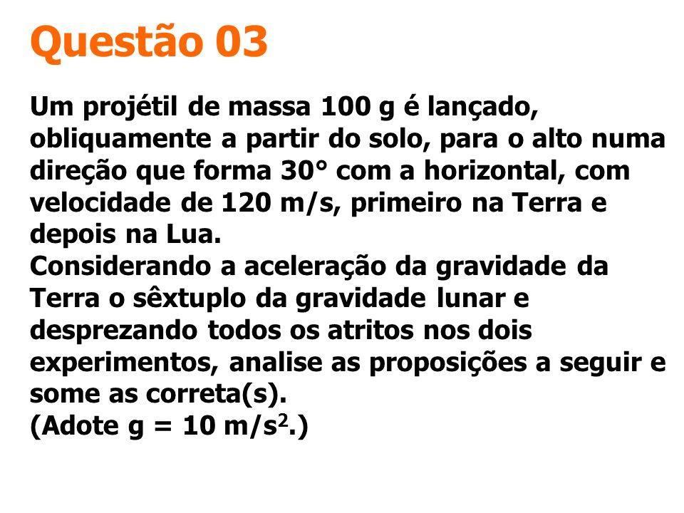 Questão 03 Um projétil de massa 100 g é lançado, obliquamente a partir do solo, para o alto numa direção que forma 30° com a horizontal, com velocidad