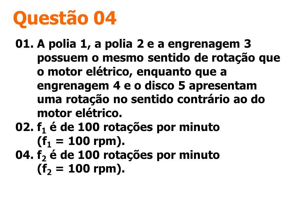 Questão 04 01. A polia 1, a polia 2 e a engrenagem 3 possuem o mesmo sentido de rotação que o motor elétrico, enquanto que a engrenagem 4 e o disco 5