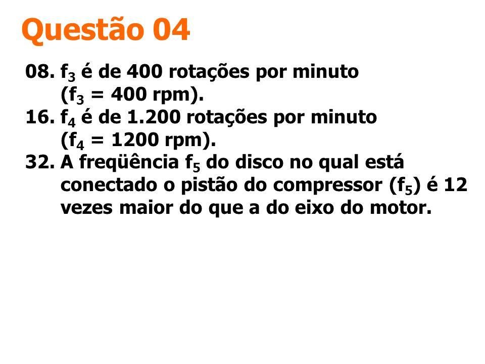 Questão 04 08. f 3 é de 400 rotações por minuto (f 3 = 400 rpm). 16. f 4 é de 1.200 rotações por minuto (f 4 = 1200 rpm). 32. A freqüência f 5 do disc