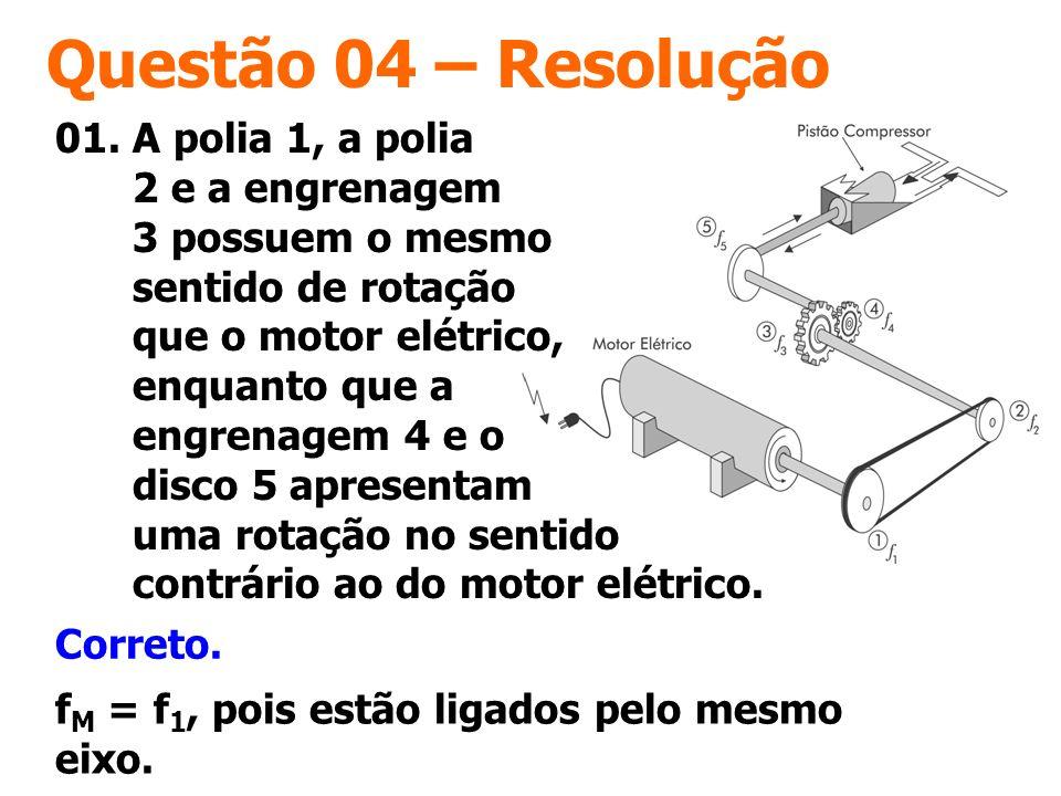 Questão 04 – Resolução Correto. f M = f 1, pois estão ligados pelo mesmo eixo. 01. A polia 1, a polia 2 e a engrenagem 3 possuem o mesmo sentido de ro
