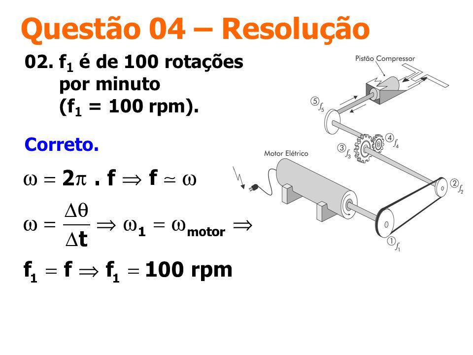 Questão 04 – Resolução Correto. 02. f 1 é de 100 rotações por minuto (f 1 = 100 rpm).