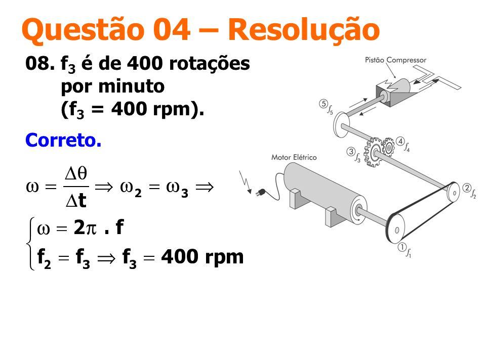 Questão 04 – Resolução Correto. 08. f 3 é de 400 rotações por minuto (f 3 = 400 rpm).