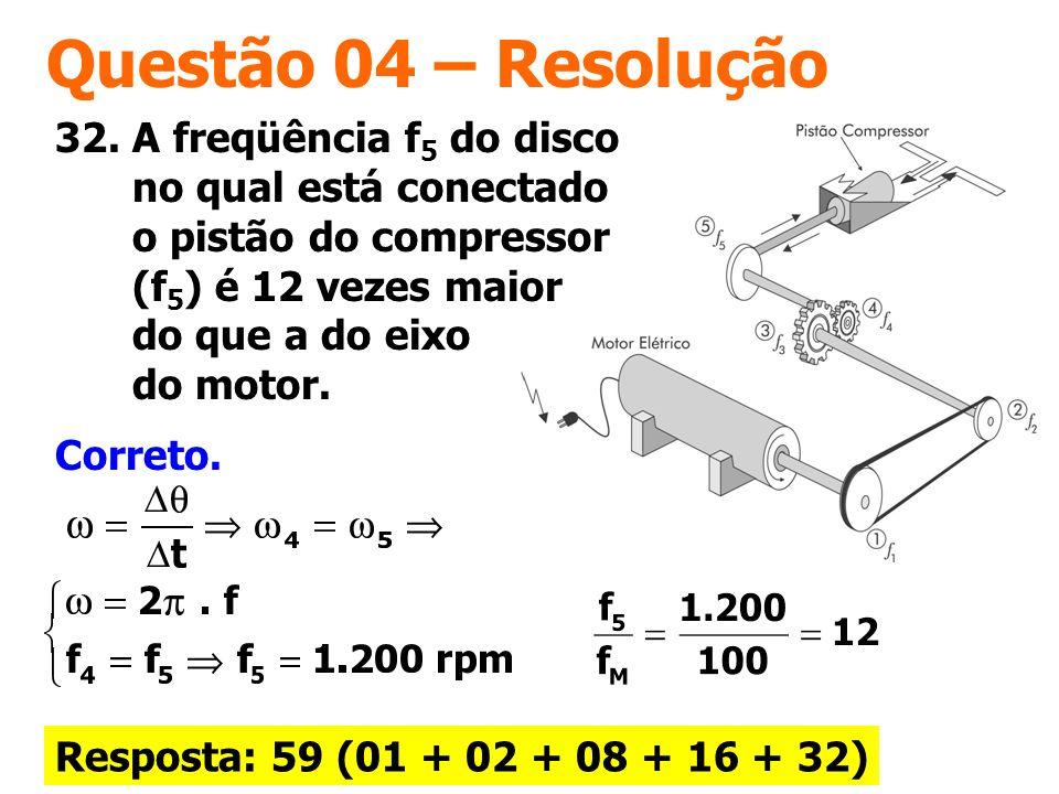Questão 04 – Resolução Correto. 32. A freqüência f 5 do disco no qual está conectado o pistão do compressor (f 5 ) é 12 vezes maior do que a do eixo d