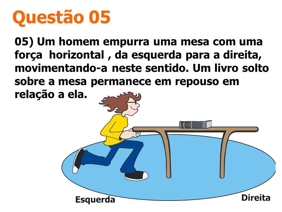 Questão 05 05) Um homem empurra uma mesa com uma força horizontal, da esquerda para a direita, movimentando-a neste sentido. Um livro solto sobre a me