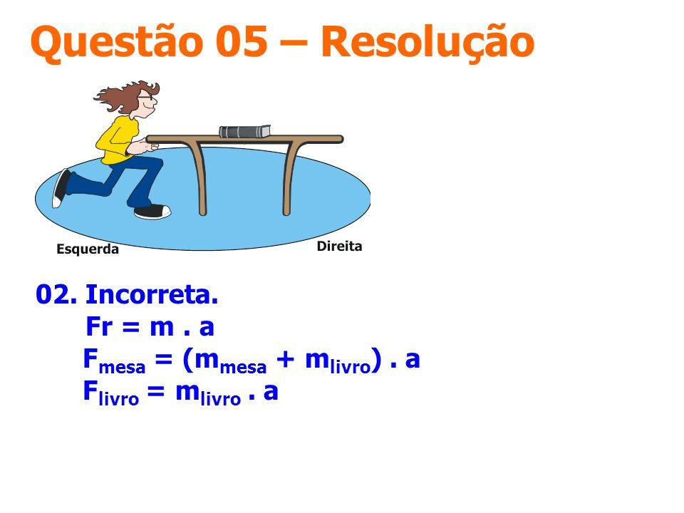 Questão 05 – Resolução 02. Incorreta. Fr = m. a F mesa = (m mesa + m livro ). a F livro = m livro. a