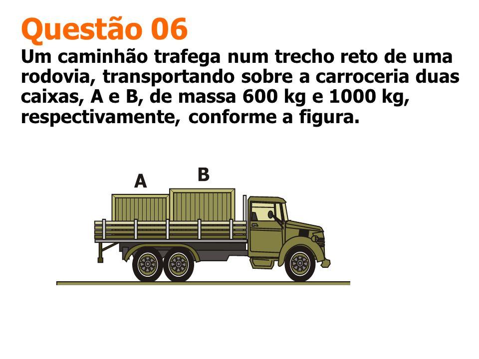 Questão 06 Um caminhão trafega num trecho reto de uma rodovia, transportando sobre a carroceria duas caixas, A e B, de massa 600 kg e 1000 kg, respect