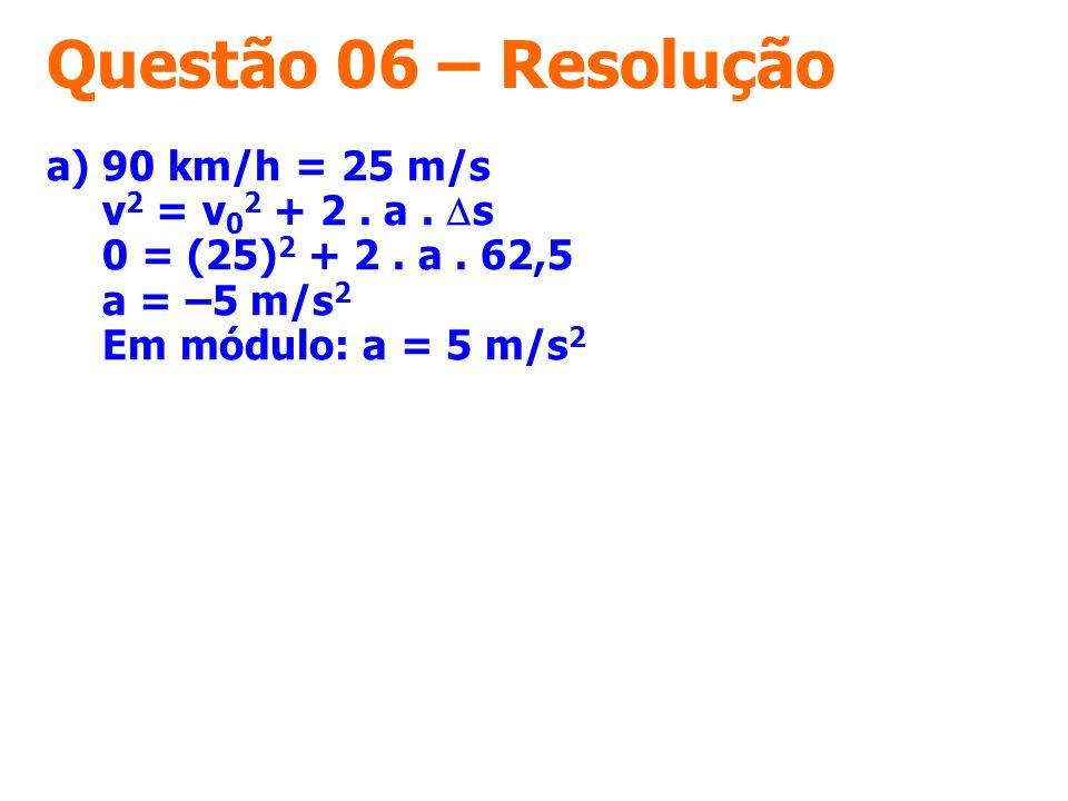 Questão 06 – Resolução a) 90 km/h = 25 m/s v 2 = v 0 2 + 2. a. s 0 = (25) 2 + 2. a. 62,5 a = –5 m/s 2 Em módulo: a = 5 m/s 2
