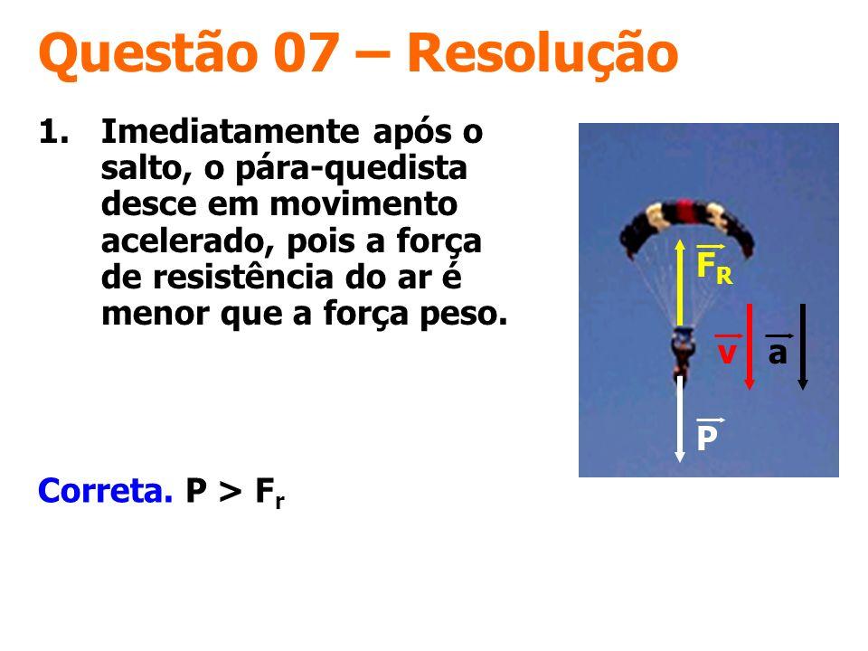 Questão 07 – Resolução Correta. P > F r 1.Imediatamente após o salto, o pára-quedista desce em movimento acelerado, pois a força de resistência do ar