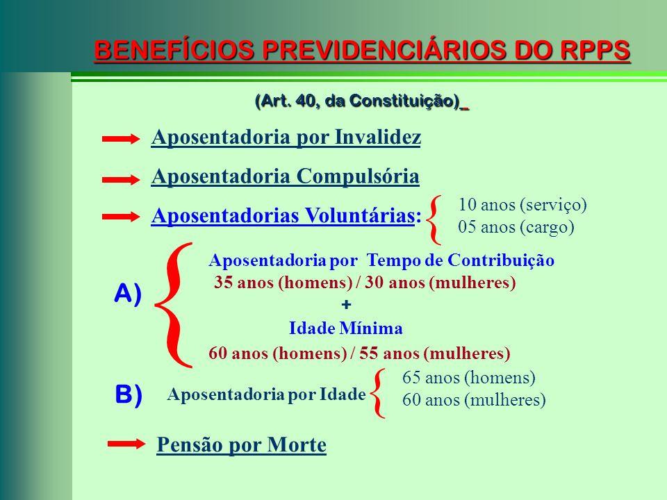 BENEFÍCIOS PREVIDENCIÁRIOS DO RPPS (Art. 40, da Constituição) Aposentadoria por Tempo de Contribuição A) Aposentadoria por Invalidez + Idade Mínima 35