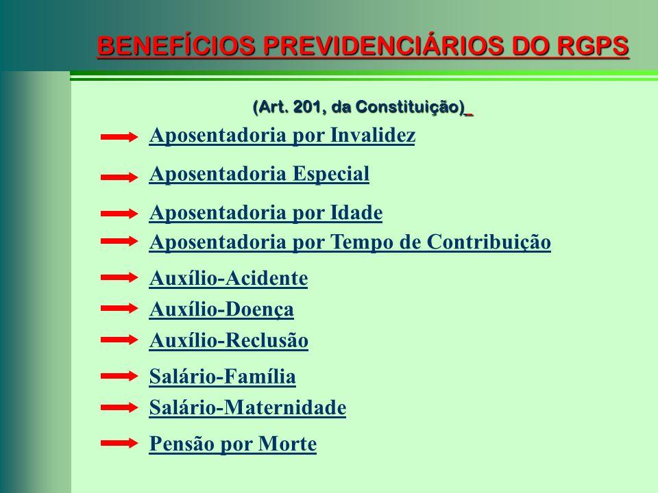 BENEFÍCIOS PREVIDENCIÁRIOS DO RGPS (Art. 201, da Constituição) Aposentadoria por Invalidez Aposentadoria Especial Aposentadoria por Idade Pensão por M