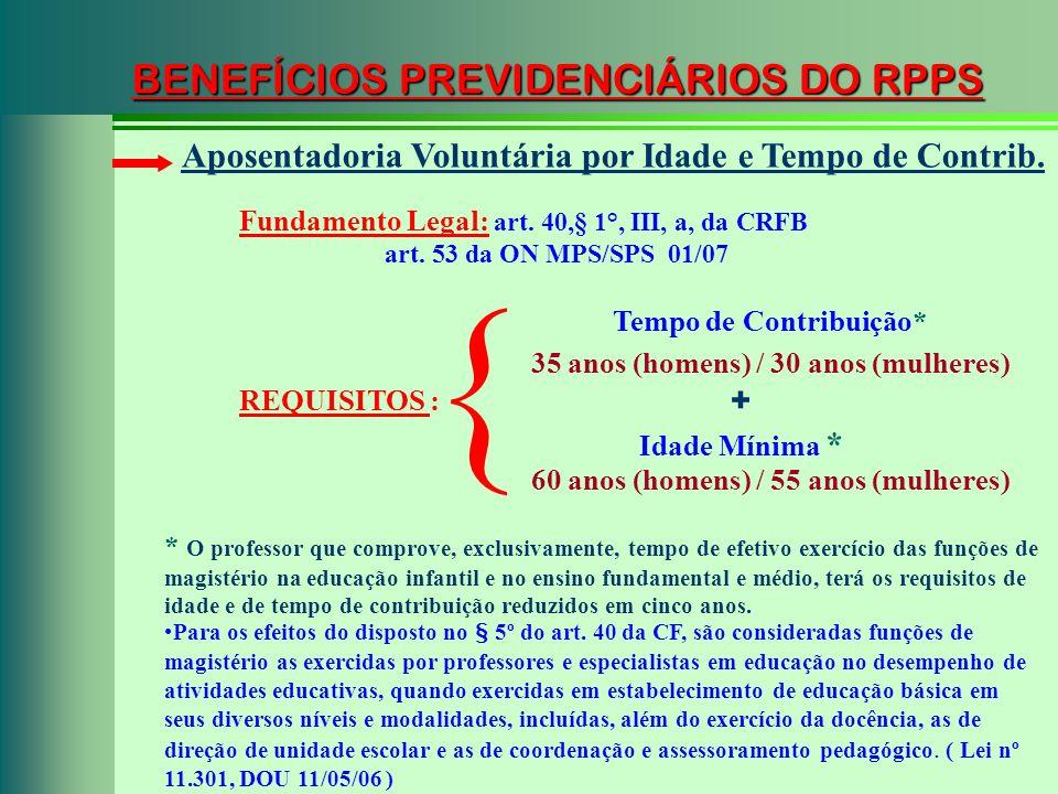 BENEFÍCIOS PREVIDENCIÁRIOS DO RPPS Fundamento Legal: art. 40,§ 1°, III, a, da CRFB art. 53 da ON MPS/SPS 01/07 Aposentadoria Voluntária por Idade e Te