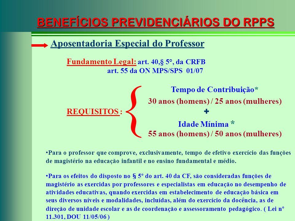 BENEFÍCIOS PREVIDENCIÁRIOS DO RPPS Fundamento Legal: art. 40,§ 5°, da CRFB art. 55 da ON MPS/SPS 01/07 Aposentadoria Especial do Professor REQUISITOS