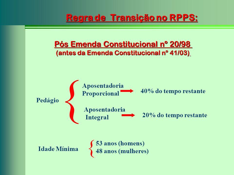 Pós Emenda Constitucional nº 20/98 (antes da Emenda Constitucional nº 41/03) Regra de Transição no RPPS: Aposentadoria Proporcional Aposentadoria Inte