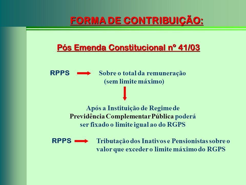 Pós Emenda Constitucional nº 41/03 FORMA DE CONTRIBUIÇÃO: RPPS Sobre o total da remuneração (sem limite máximo) Após a Instituição de Regime de Previd