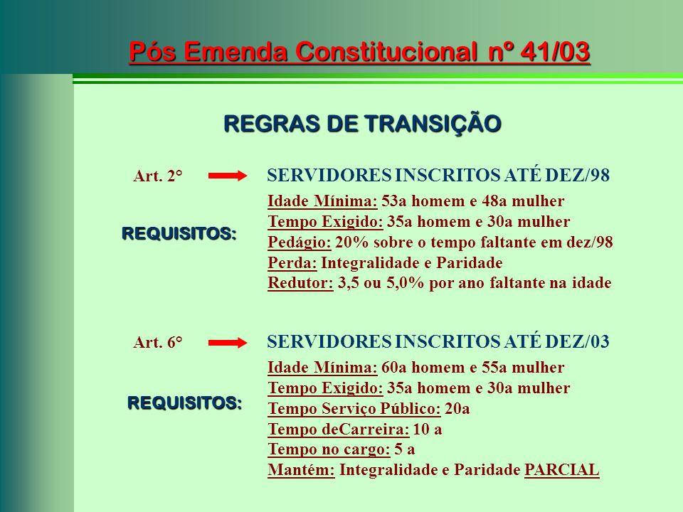 Pós Emenda Constitucional nº 41/03 Art. 6° SERVIDORES INSCRITOS ATÉ DEZ/03 Idade Mínima: 60a homem e 55a mulher Tempo Exigido: 35a homem e 30a mulher