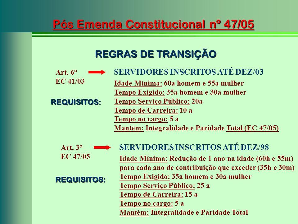 Pós Emenda Constitucional nº 47/05 Art. 6° EC 41/03 SERVIDORES INSCRITOS ATÉ DEZ/03 Idade Mínima: 60a homem e 55a mulher Tempo Exigido: 35a homem e 30