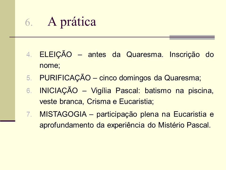 6.A prática 4. ELEIÇÃO – antes da Quaresma. Inscrição do nome; 5.