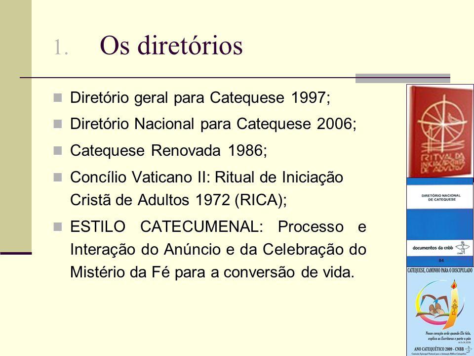 1. Os diretórios Diretório geral para Catequese 1997; Diretório geral para Catequese 1997; Diretório Nacional para Catequese 2006; Diretório Nacional