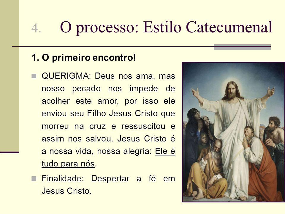 4. O processo: Estilo Catecumenal QUERIGMA: Deus nos ama, mas nosso pecado nos impede de acolher este amor, por isso ele enviou seu Filho Jesus Cristo