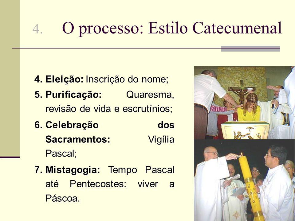 4. O processo: Estilo Catecumenal 4.Eleição: Inscrição do nome; 5.Purificação: Quaresma, revisão de vida e escrutínios; 6.Celebração dos Sacramentos: