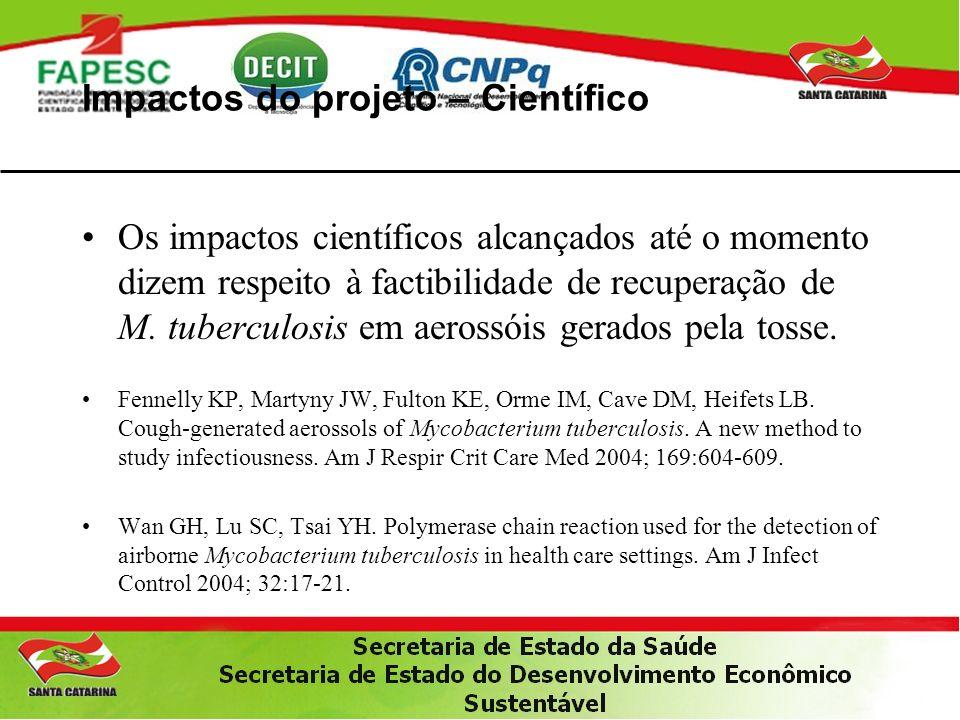 Impactos do projeto – Científico Os impactos científicos alcançados até o momento dizem respeito à factibilidade de recuperação de M.