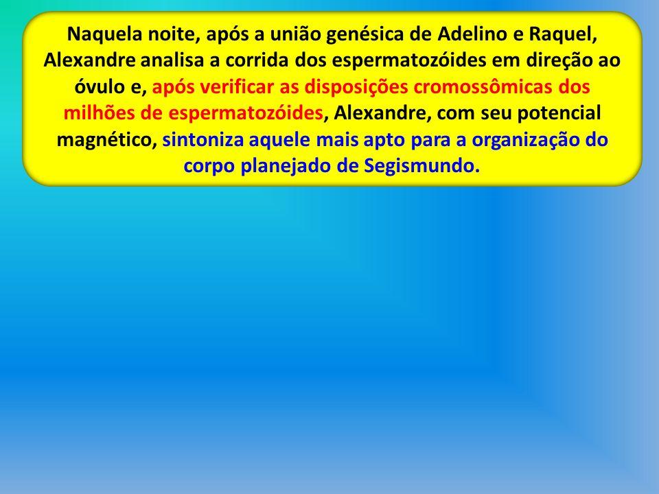 Naquela noite, após a união genésica de Adelino e Raquel, Alexandre analisa a corrida dos espermatozóides em direção ao óvulo e, após verificar as dis