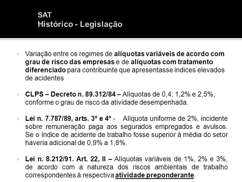 Variação entre os regimes de alíquotas variáveis de acordo com grau de risco das empresas e de alíquotas com tratamento diferenciado para contribuinte
