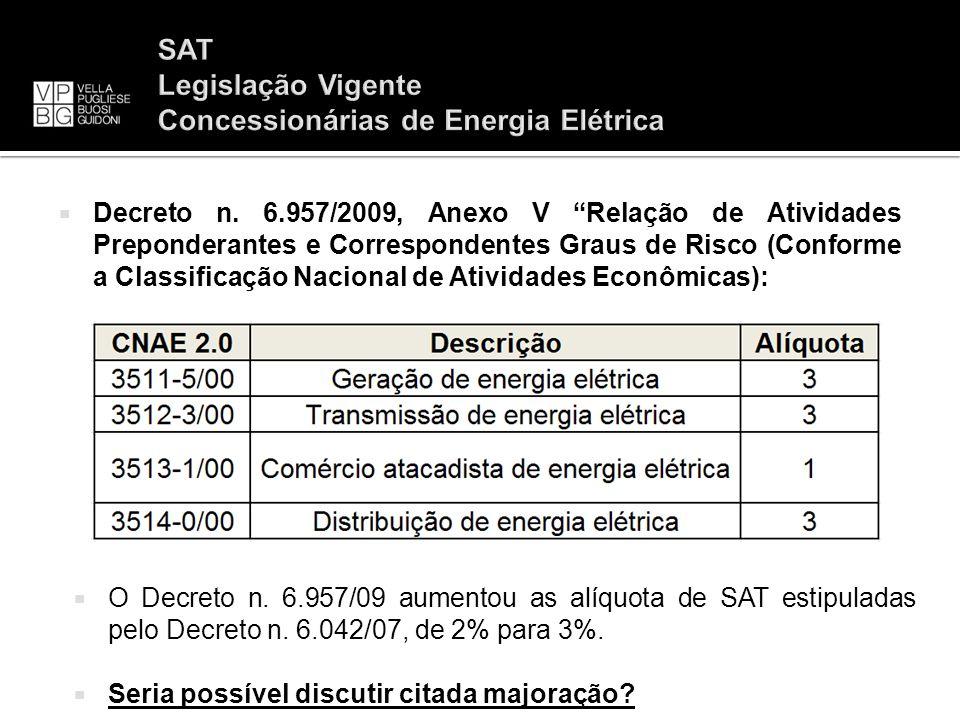 Decreto n. 6.957/2009, Anexo V Relação de Atividades Preponderantes e Correspondentes Graus de Risco (Conforme a Classificação Nacional de Atividades