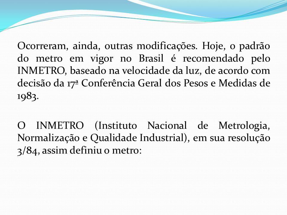 Ocorreram, ainda, outras modificações. Hoje, o padrão do metro em vigor no Brasil é recomendado pelo INMETRO, baseado na velocidade da luz, de acordo