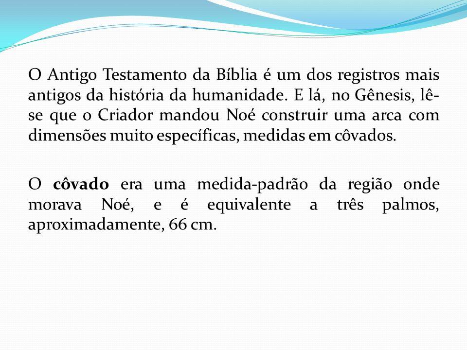 O Antigo Testamento da Bíblia é um dos registros mais antigos da história da humanidade. E lá, no Gênesis, lê- se que o Criador mandou Noé construir u