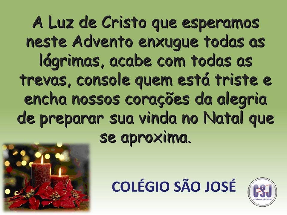 A Luz de Cristo que esperamos neste Advento enxugue todas as lágrimas, acabe com todas as trevas, console quem está triste e encha nossos corações da