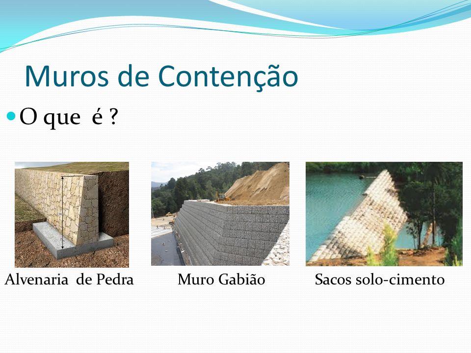 Muros de Contenção O que é ? Alvenaria de Pedra Muro Gabião Sacos solo-cimento