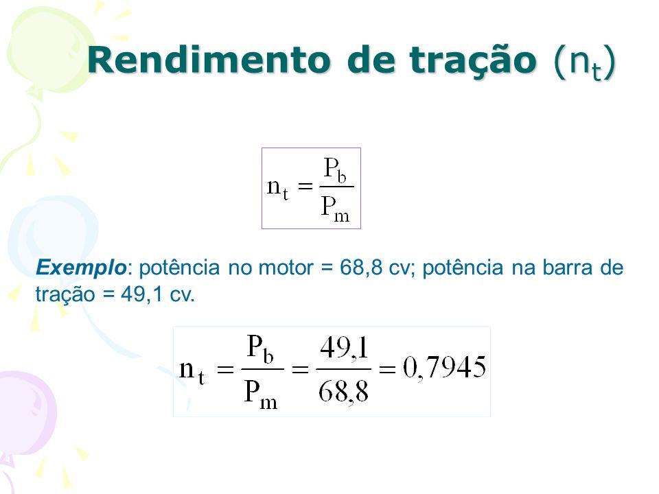 Rendimento de tração (n t ) Exemplo: potência no motor = 68,8 cv; potência na barra de tração = 49,1 cv.