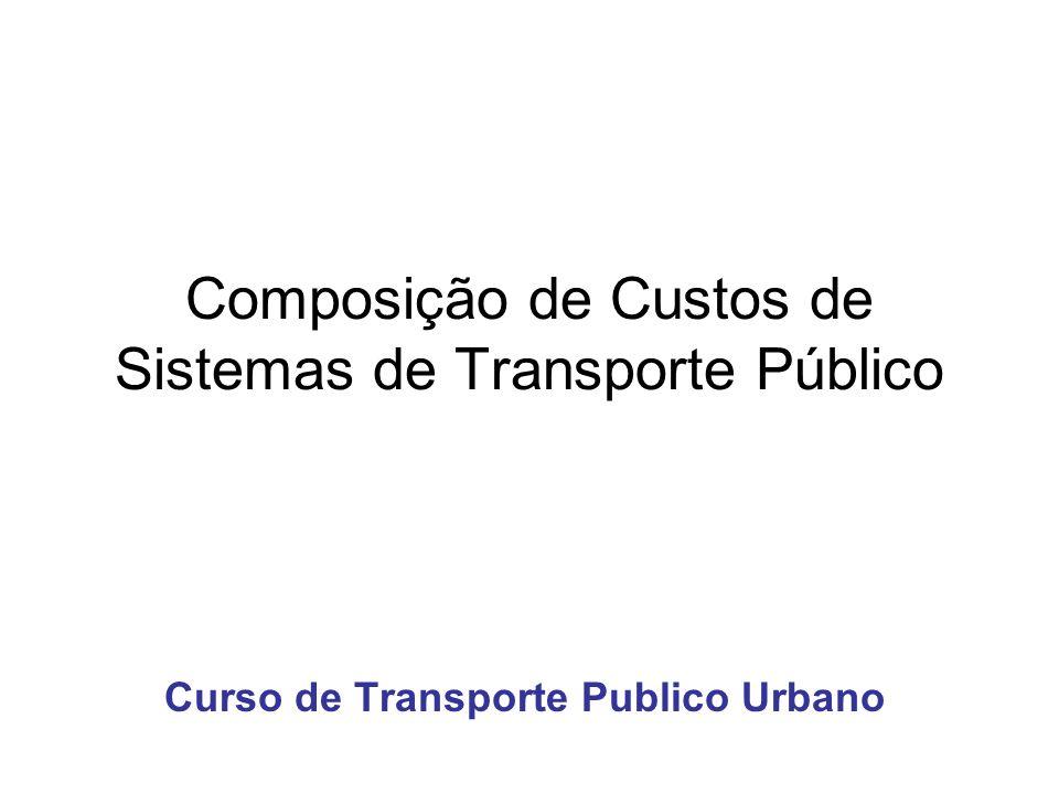 Composição de Custos de Sistemas de Transporte Público Curso de Transporte Publico Urbano
