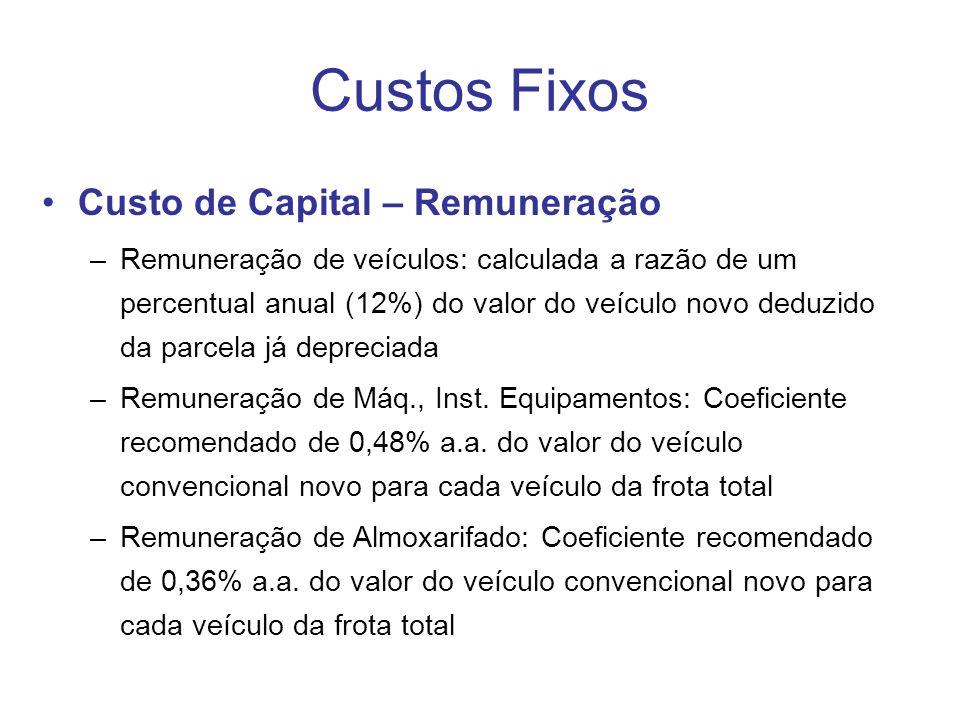 Custos Fixos Custo de Capital – Remuneração –Remuneração de veículos: calculada a razão de um percentual anual (12%) do valor do veículo novo deduzido da parcela já depreciada –Remuneração de Máq., Inst.