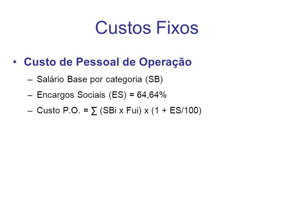 Custos Fixos Custo de Pessoal de Operação –Salário Base por categoria (SB) –Encargos Sociais (ES) = 64,64% –Custo P.O.