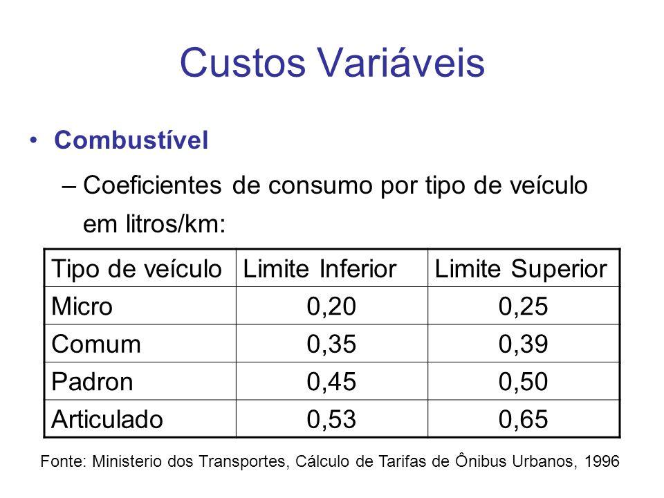 Custos Variáveis Lubrificantes –Coeficientes de consumo por tipo de veículo em litros/km podem ser apurados para: óleo de motor, óleo de caixa e diferencial, fluído de freio e graxas –Alternativamente também se adota um gasto equivalente de 4 a 6% do custo com combustíveis por tipo de veículo