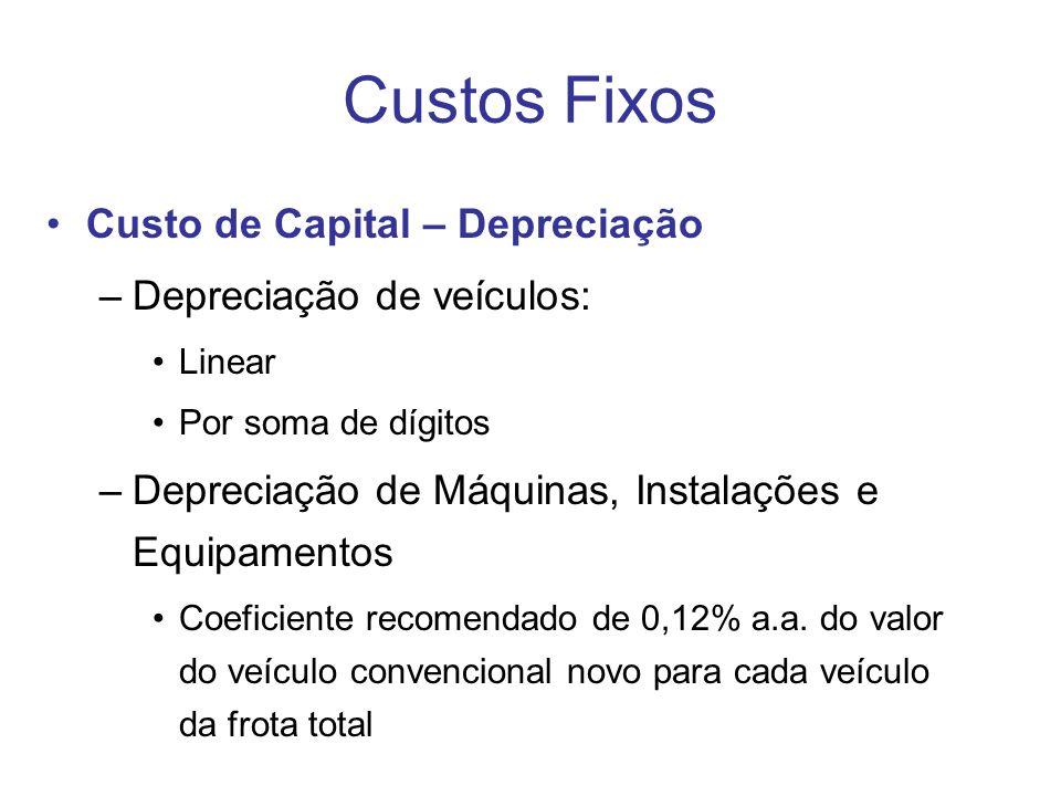 Custos Fixos Custo de Capital – Depreciação –Depreciação de veículos: Linear Por soma de dígitos –Depreciação de Máquinas, Instalações e Equipamentos Coeficiente recomendado de 0,12% a.a.