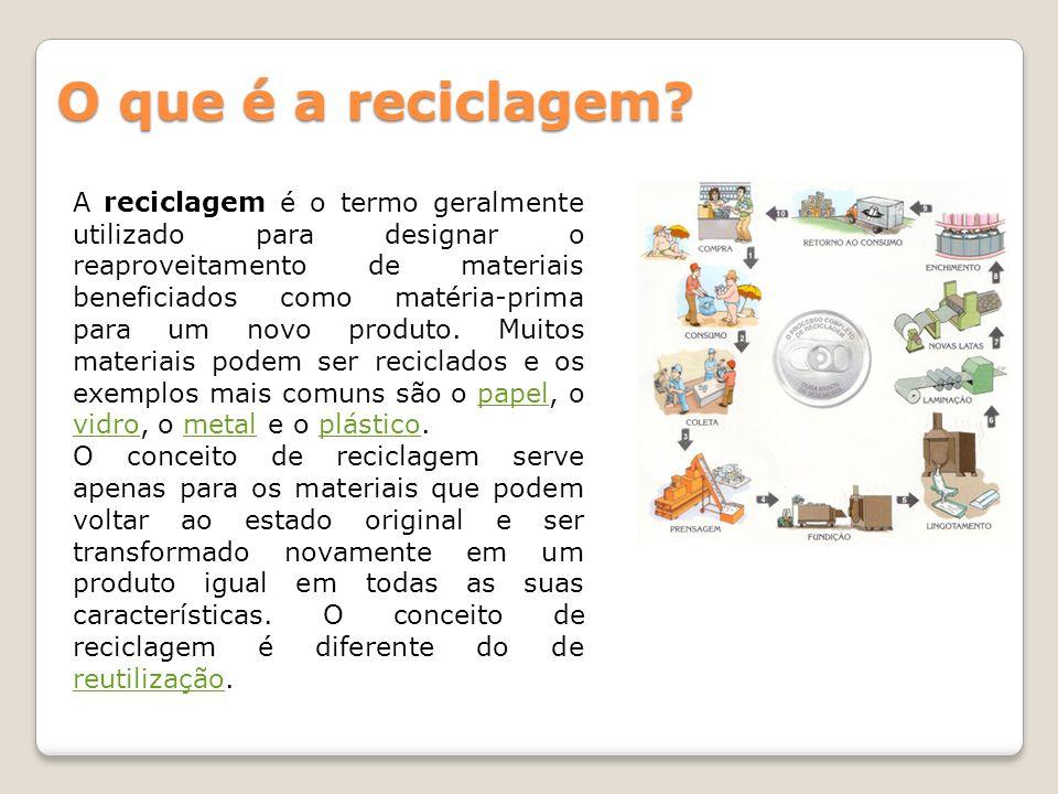 O que é a reciclagem? A reciclagem é o termo geralmente utilizado para designar o reaproveitamento de materiais beneficiados como matéria-prima para u