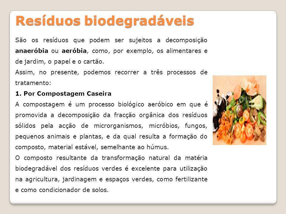 Resíduos biodegradáveis São os resíduos que podem ser sujeitos a decomposição anaeróbia ou aeróbia, como, por exemplo, os alimentares e de jardim, o p
