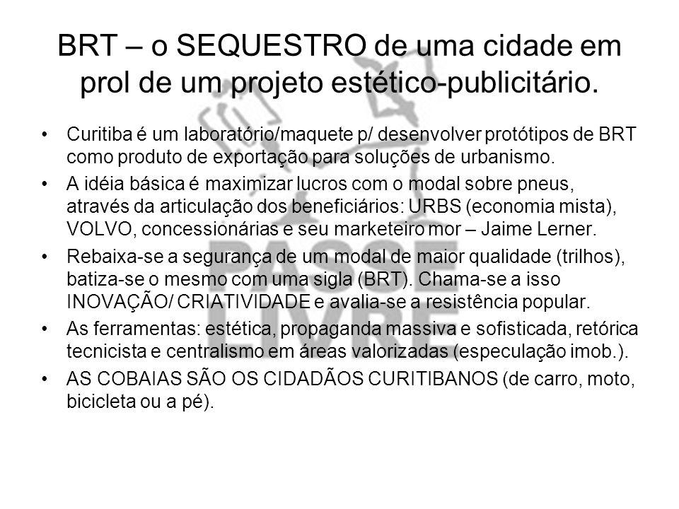 BRT – o SEQUESTRO de uma cidade em prol de um projeto estético-publicitário. Curitiba é um laboratório/maquete p/ desenvolver protótipos de BRT como p