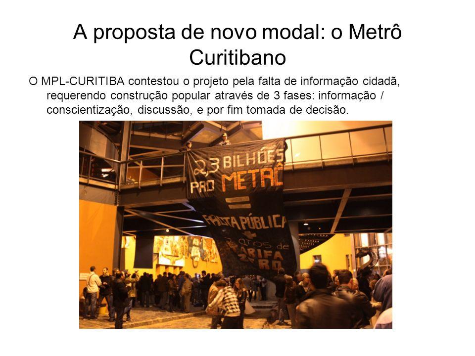 A proposta de novo modal: o Metrô Curitibano O MPL-CURITIBA contestou o projeto pela falta de informação cidadã, requerendo construção popular através de 3 fases: informação / conscientização, discussão, e por fim tomada de decisão.