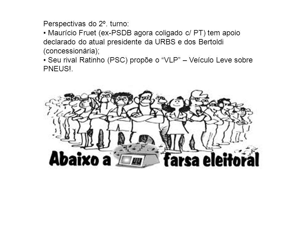 Perspectivas do 2º. turno: Maurício Fruet (ex-PSDB agora coligado c/ PT) tem apoio declarado do atual presidente da URBS e dos Bertoldi (concessionári