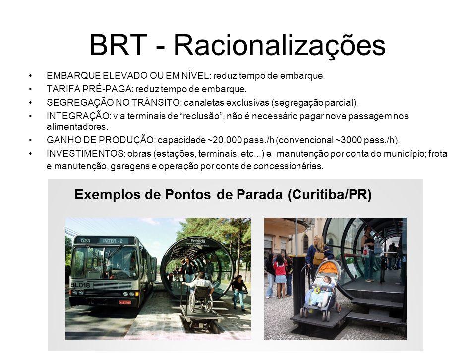 BRT - Racionalizações EMBARQUE ELEVADO OU EM NÍVEL: reduz tempo de embarque. TARIFA PRÉ-PAGA: reduz tempo de embarque. SEGREGAÇÃO NO TRÂNSITO: canalet