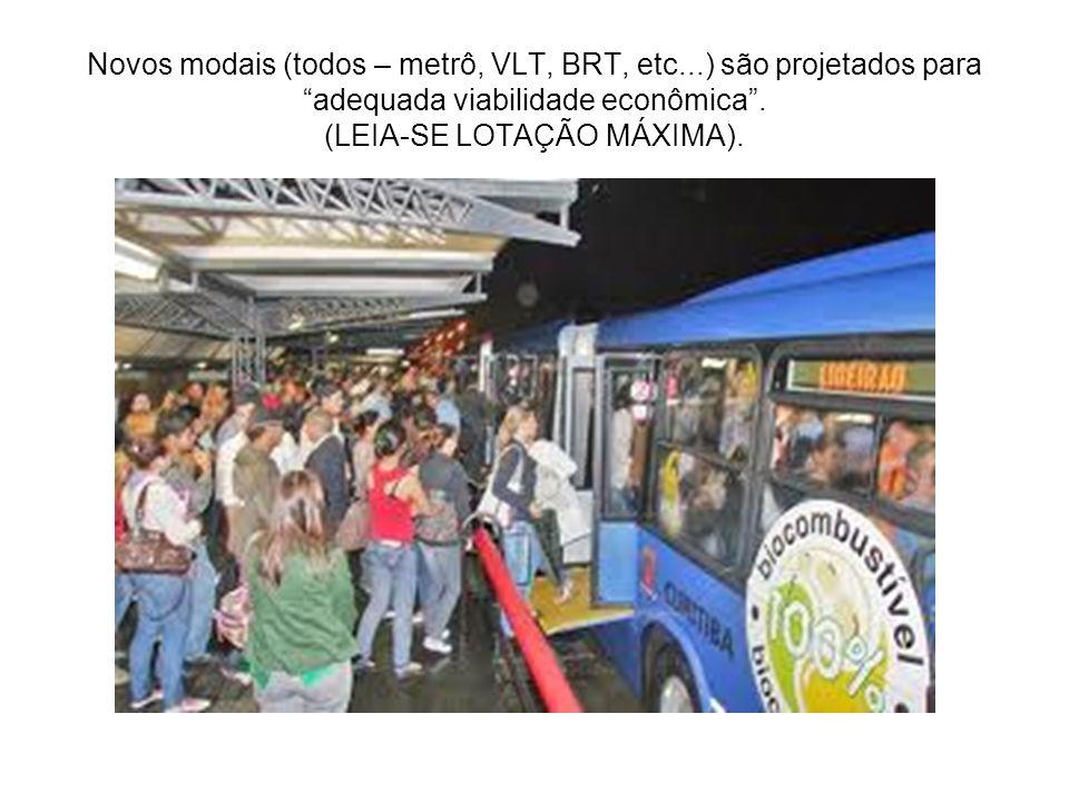 Novos modais (todos – metrô, VLT, BRT, etc...) são projetados para adequada viabilidade econômica. (LEIA-SE LOTAÇÃO MÁXIMA).